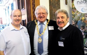 Blachere Illumination UK's Gary and Ronnie Brown, either side of Nabma President, Cllr Mick Barker