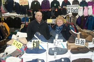 Ian Julie Holgate of 'Holgate Country Wear' Skipton Market