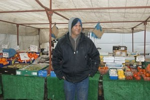 Thair Ramzan of 'T's Fruit Veg Stall' Skipton Market