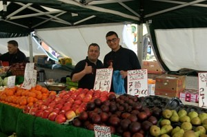Ben Pollards of Pollards Quality Fruit Veg Leek Market.