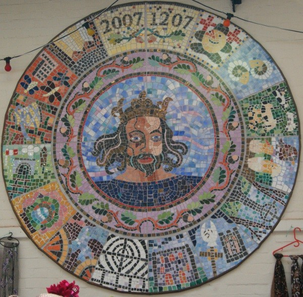 The commemorative wall mosaic celebrating Leek's 800 year old market Charter