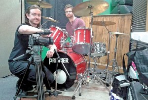 Andy Watson of MiniMatt with Ashley Haycock on drums inside their recording studio