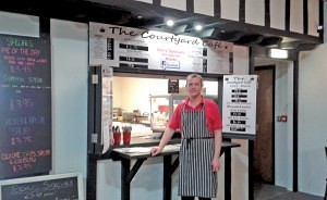 Matthew outside the Courtyard Cafe, which was recently voted number One by the Grimsby Telegraph of in the top ten bargain places to eat in Grimsby