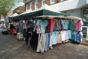 Bill Dobb's clothing stall Swadlincote Market