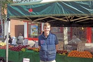 Josh Wardle of Pollards Fruit and Veg Swadlincote Market