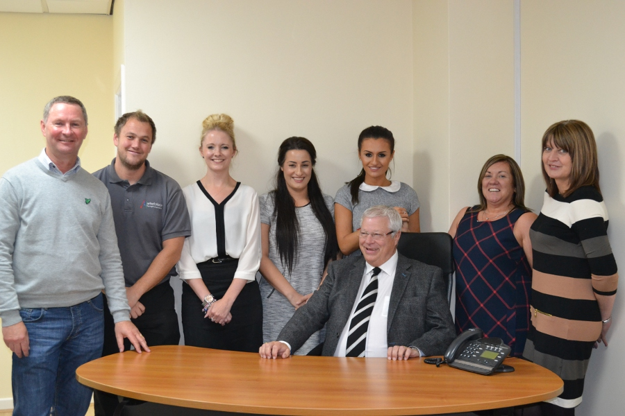 L-R: Nick Rhodes, CEO; Chris Hulley, Ops Manager; Emma Rhodes, Communications Assistant; Natasha Hartwell, Finance Asst.; Allan Hartwell, MD (seated); Nicola Hartwell, Admin Assistant; Maryjane Hartwell, FD; Jackie Casey, Business Development Manager.