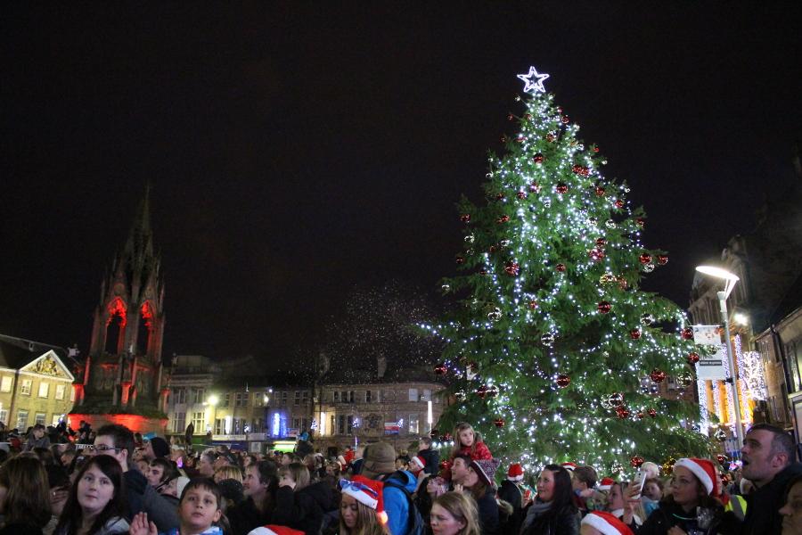 Christmas tree and crowd